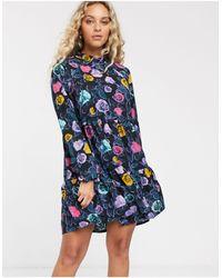 Monki Rose Print Mini Smock Dress - Blue