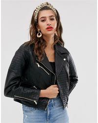 River Island Real Leather Jacket - Black