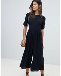 ASOS - Tea Jumpsuit With Ruched Sleeve Detail - Lyst