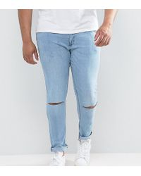Jacamo Plus Skinny Jeans With Knee Rips In Bleach Wash - Blue