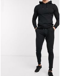 ASOS Muscle Tracksuit With Hoodie & Extreme Super Skinny sweatpants - Black