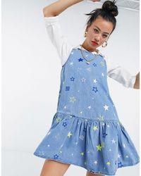 Love Moschino Синее Свободное Платье С Принтом В Виде Звезд -голубой - Синий