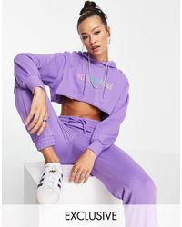Reclaimed (vintage) Inspired Crop Hoodie With Rainbow Logo Print - Purple