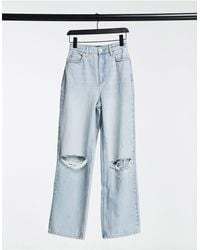 ASOS Hourglass High Rise 'relaxed' Dad Jeans With Rips - Blue