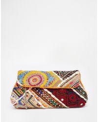 Raga - Embroidered Clutch Bag - Lyst