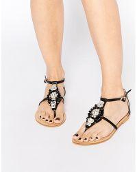 Forever Unique - Flavia Embellished Flat Sandals - Lyst