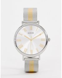 Guess - W1155l1 Lenox Mixed Metal Mesh Watch - Lyst