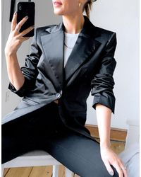 Weekday Rita Satin Blazer - Black
