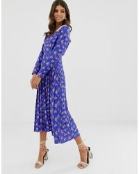 b99d065025a88 ASOS - Pleated Maxi Dress In Ditsy Floral Print With Lace Collar - Lyst