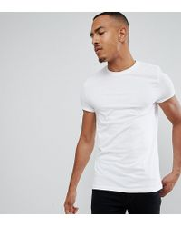 ASOS - Tall T-shirt With Crew Neck And Roll Sleeve In White - Lyst
