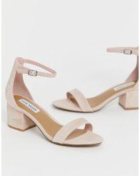 0112d9d39c3e Steve Madden Slithur Blush Caged Heeled Sandals in Pink - Lyst