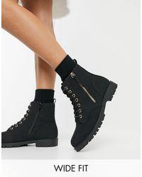 New Look Черные Ботинки На Плоской Подошве Со Шнуровкой И Молнией -черный