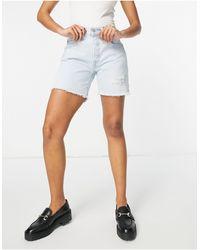 Levi's 501 - pantaloncini di jeans a mezza coscia lavaggio candeggiato - Blu