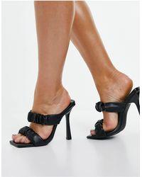 SIMMI Shoes Черные Мюли На Каблуке С Присборенной Отделкой Simmi London Quinn-черный Цвет