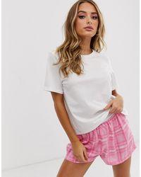 ASOS Geruite Pyjama Van Modal, Short En Jersey T-shirt - Wit