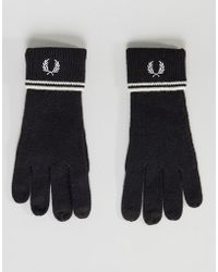 Fred Perry - Twin Tipped Lambswool Gloves Black - Lyst