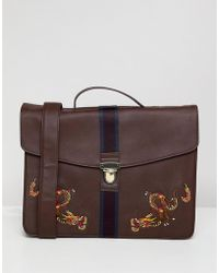 ASOS - Design Satchel In Faux Leather In Burgundy With Internal Laptop Pouch And Dragon Embroidery - Lyst