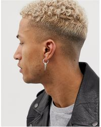 ASOS Sterling Silver Statement Spike Earring - Metallic