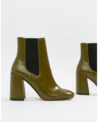 085588eac6e0 River Island - Square Toe Heeled Boots In Green - Lyst