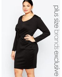 Carmakoma - Long Sleeve Bodycon Dress With Knot Front Detail - Lyst