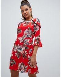 117ef4220490 PrettyLittleThing - Ladder Trim Frill Sleeve Dress In Red Floral - Lyst