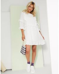 In The Style X Lorna Luxe Frill Detail Skater Dress - White