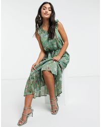 Y.A.S Maxi Dress With Ruffle Detail And Button Front - Green
