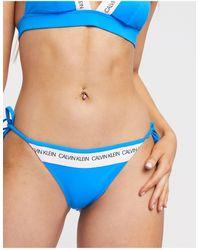 Calvin Klein Голубые Трусы Бикини С Завязками По Бокам -синий