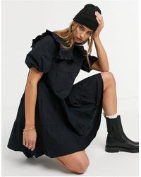 Warehouse Черное Платье Мини С Оборками И Нагрудной Вставкой -черный Цвет