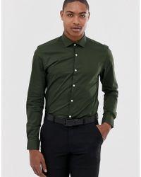 Moss Bros Camisa de corte ajustado en caqui - Verde