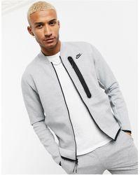 Nike Серый Трикотажный Бомбер На Молнии Tech Fleece