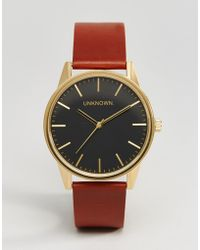 Unknown - Classic Tan Leather Watch With Black Dial 39mm - Lyst