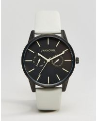 Unknown - Engineered Leather Watch In Grey 39mm - Lyst