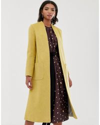 Helene Berman Wool Blend Duster Coat - Yellow