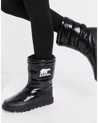 Sorel Черные Лакированные Зимние Ботинки С Утепляющей Подкладкой Joan Of Arctic-черный