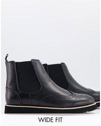 Truffle Collection Черные Ботинки Челси В Стиле Casual Для Широкой Стопы -черный Цвет