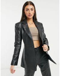 ASOS Premium Leather Suit Blazer With Sculpted Waist - Black