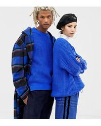 Collusion Unisex Oversized Sweater In Chunky Rib - Blue