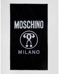 Moschino Logo Beach Towel - Black
