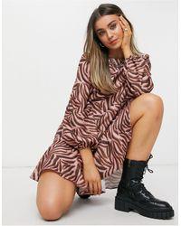 Chi Chi London Tiger Print Smock Mini Dress - Brown