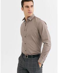 Jack & Jones - Коричневая Рубашка Узкого Кроя Premium-серый - Lyst