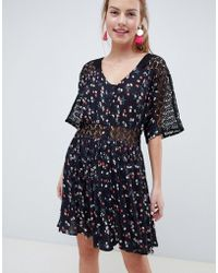 ASOS DESIGN - Lace Insert Mini Casual Tea Dress In Ditsy Floral - Lyst