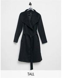 New Look Черное Пальто Макси С Заниженной Линией Плеч И Поясом -черный Цвет