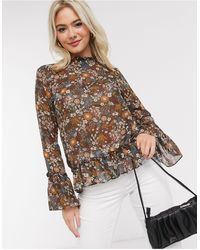 Brave Soul High Neck Blouse With Ruffle Hem - Green