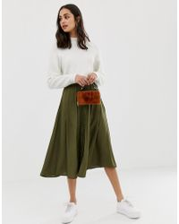 ASOS Button Front Floaty Midi Skirt With Pleats