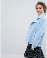 Miss Selfridge - Borg Oversized Aviator Jacket - Lyst
