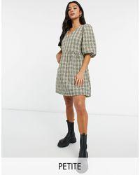 Vero Moda Свободное Стеганое Платье Мини В Клетку -многоцветный