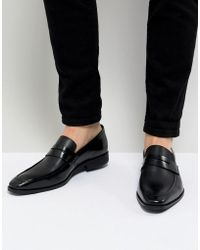 Dune - Cross Hatch Loafers In Black Leather - Lyst