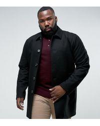 ASOS - Plus Wool Mix Trench Coat In Black - Lyst