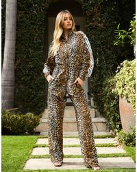 adidas Originals 'leopard Luxe' Jumpsuit With Elasticated Waist - Brown
